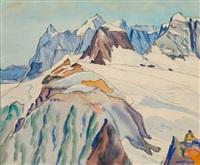 alpiniste surplombant un glacier by albert nyfeler