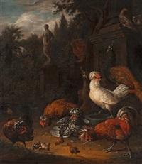 hens in a garden by melchior de hondecoeter