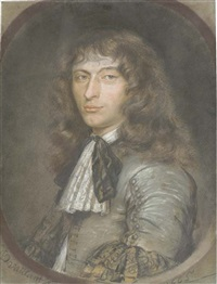 portrait of a young gentleman in a grey costume with lace jabot and black ribbon by bernard vaillant