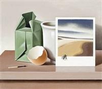 stilleben mit streichholzpackung, weißem becher, landschaftsfoto und eierschale by klaus langkafel