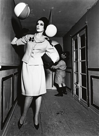 dorothy and beach ball and dwarf scout, paris by william klein