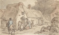 figures outside a cottage with pigs and chickens by thomas rowlandson
