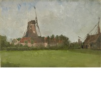 windmill in the dutch countryside by john henry twachtman