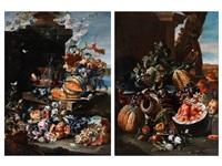stilleben mit blumen, früchten, gläsern und prunkgefäss (pair) by christian berentz