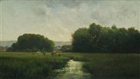 cows grazing in a river landscape by frederick porter vinton