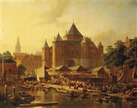 a fish market by de waag on the nieuwmarkt, amsterdam by kasparus karsen