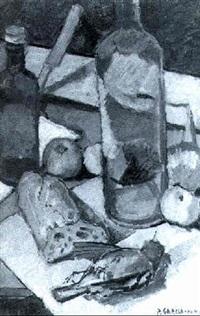 bodegón con botellas, fruta, pan y garrión by pierre garcia fons