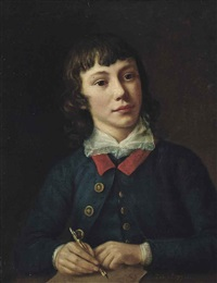 portrait of a young gentleman, half-length, in a blue coat, holding a pen in his right hand by nathaniel hone the elder