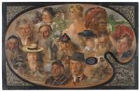 ganzfiguriges selbstportrait sowie bildnis seiner frau und malerpalette by raphael rosenberger