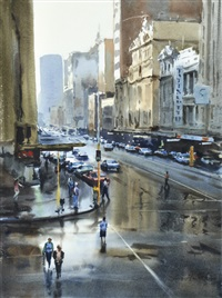 rain on flinders street by greg allen