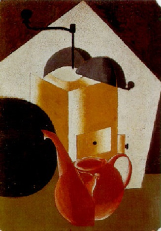 composition with coffee grinder and coffee pot by alexander vesnin