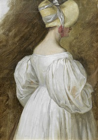 study of a young lady, three-quarter-length in a white dress and a bonnet by jacques-laurent agasse