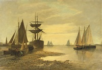 shipping near a harbour entrance by frans jacobus van den blyk