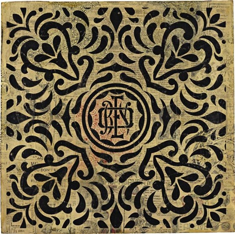 japanese fabric monogram inverse by shepard fairey