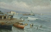 marina con castel dell'ovo sullo sfondo by radames scoppa