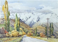 mountain road; mountainous landscape; and figure washing in a stream by peggy spicer