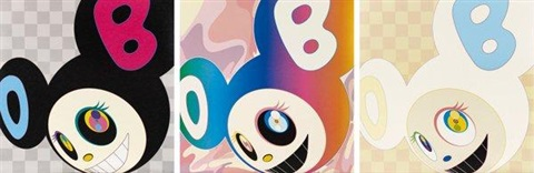 and then black and then rainbow and then ichimatsupattern 3 works by takashi murakami