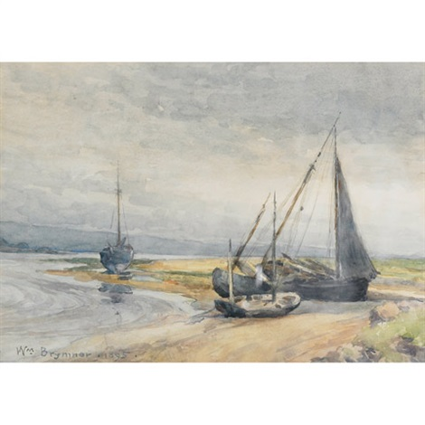 shoreline with sailing vessels by william brymner