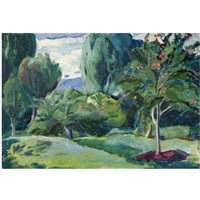 landscape with apple tree by aleksei ilych kravchenko