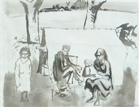 boiling the billy, aboriginal camp by noel jack counihan