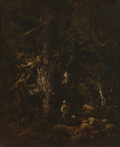 foret et moutons by narcisse virgile diaz de la peña