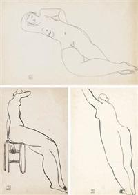 躺着的裸女;坐着的裸女;及站着的裸女 (共两件) (2 works) by sanyu