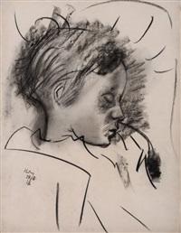 schlafendes kind (till, der sohn des künstlers) by otto herbig