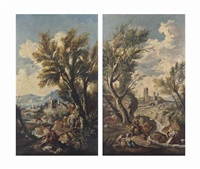 a wooded river landscape with fishermen and washerwomen, a village beyond; and a wooded river landscape with travellers on a path and other figures, a village beyond (pair) by alessandro magnasco
