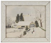 old covered bridge in winter by grandma moses