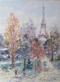 les jardins du trocadero sous la neige by georges yoldjoglou