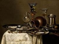 bodegón con orfebería, copas de cristal y ostras by cornelisz mahu