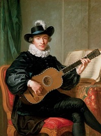 portrait of monsieur aublet in a black fancy costume and playing a five-course guitar, a sheet of music on a table beside him by guillaume voiriot