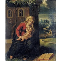 madonna and child with a book by battista (de luteri) dossi