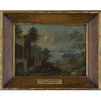 river landscape with villagers (+ another, similar; pair) by johann christoph von bemmel