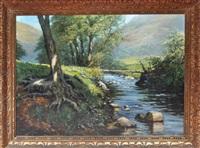 tree roots along the bank of a river in summer sunshine by george charles francis