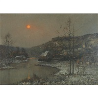 snow covered village on the river, evening by rené billotte
