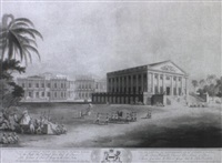 view of the government house and council chamber, madras by h. merke