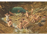 boys swimming by adriaan hendrik boshoff
