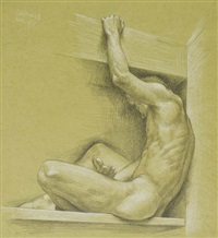 male nude seated on a ledge (nm 158) by paul cadmus