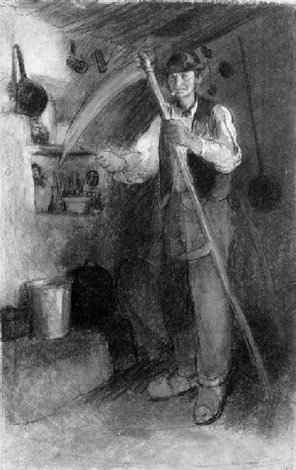 an old peasant in an interior sharpening his scythe by charles edmond theodore milcendeau