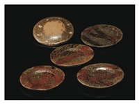 iron glazed small dishes with pile patterns five-pieces set by kitaoji rosanjin