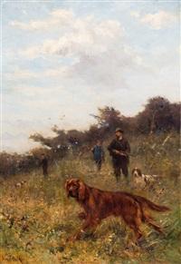 jagers met honden in het veld by john frederik hulk the younger