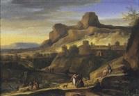 paesaggio classico con astanti in primo piano e città immaginaria sullo sfondo by gabriel allegrain