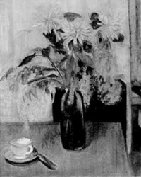 still life with flowers, tea cup and spoon on a table by jane freilicher