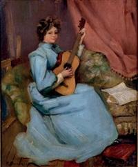 femme à la guitare by victor bachereau-reverchon