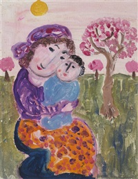 mother and child in an orchard by dora holzhandler