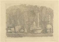 natura morta di vasi, bottiglie ecc. su un tavolo by giorgio morandi