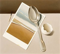 stilleben mit postkarte, silberlöffel und eierschale by klaus langkafel