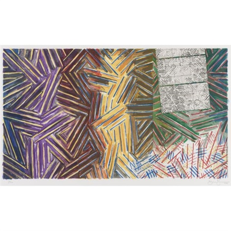between the clock and the bed by jasper johns