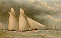 a two-masted schooner, flying the burgee of the royal yacht squadron, off the nab lightship by j.w. anderson